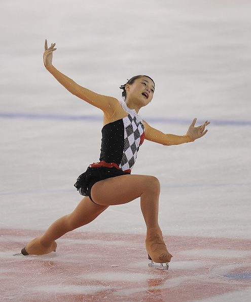Yuna Shiraiwa of Japan performs in the junior free skating exercise at the ISU Junior Grand Prix of Figure Skating Logrono on October 2 2015 in...