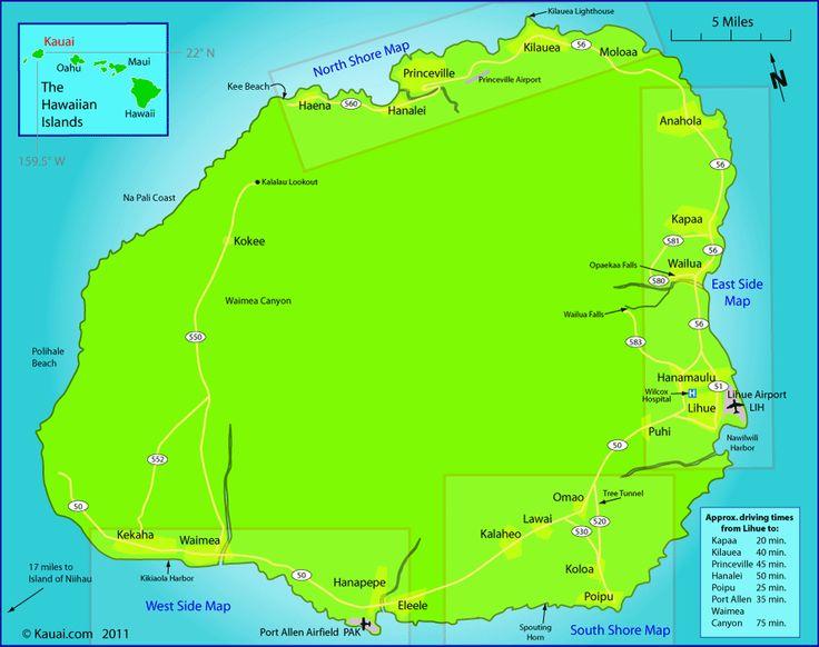 Kauai Map   Kauai.com