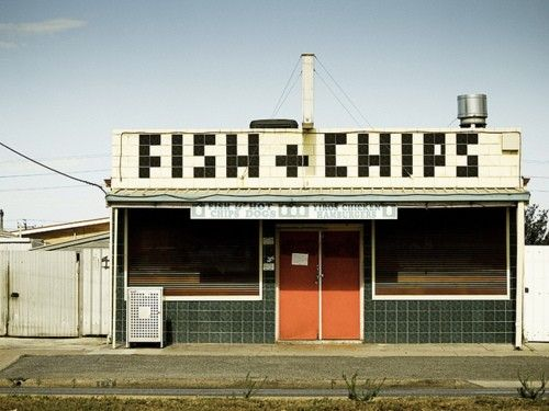 Tiled fish + chips sign. Gorgeous.