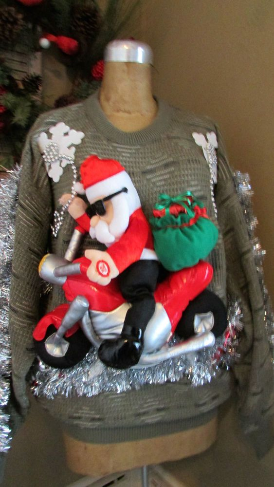 Ugly Christmas Sweater Singing Motorcycle Riding Santa L
