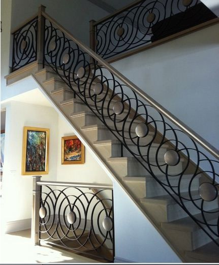 49 best railings images on pinterest banisters hand for Interior iron railing designs