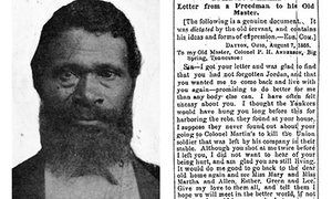 Jourdon Anderson, left, and the beginning of his letter  to his former master, Patrick H. Anderson,