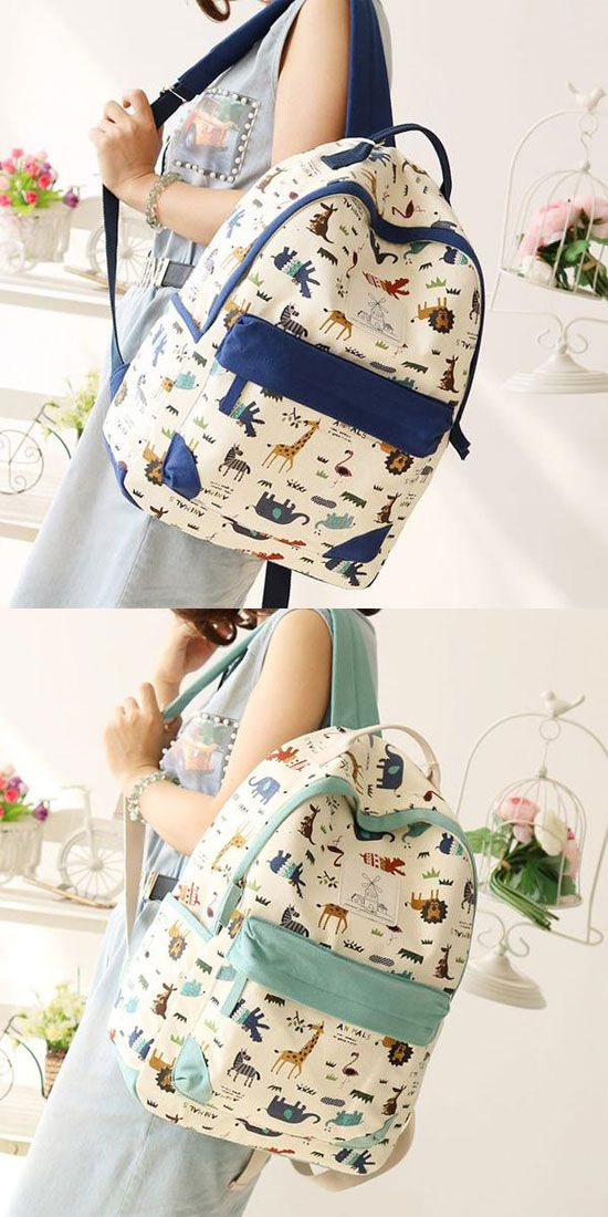 Leisure Zoo High School Rucksack Animal Paradise College Canvas Backpack for big sale! #canvas #backpack #Bag #animal #school #zoo