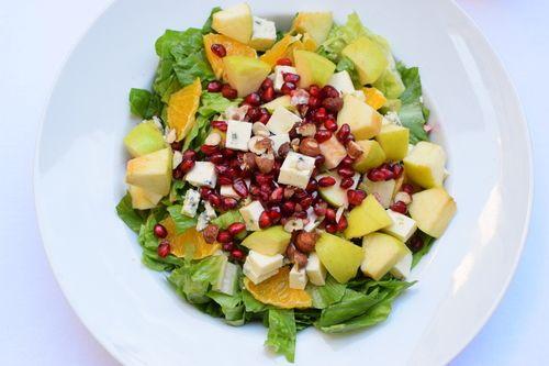 light summer salad with pomegranate