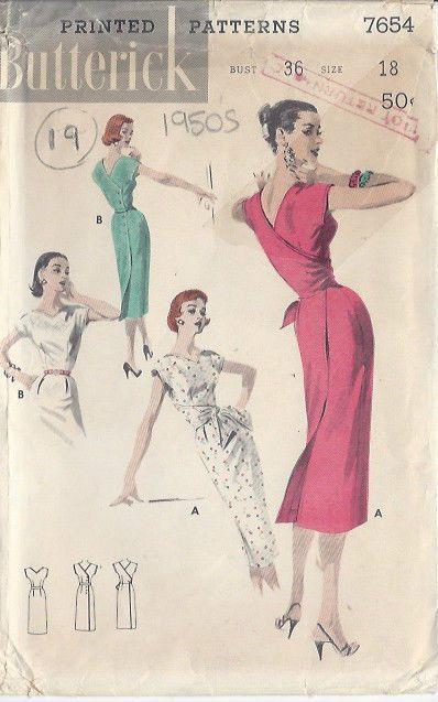 "1950s Vintage Sewing Pattern DRESS B36""-S18 (19)"