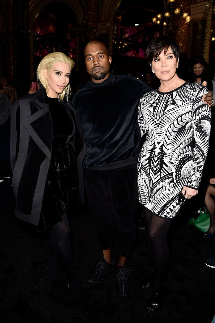 Pin for Later: See Every Celeb Who Sat Front and Center at Paris Fashion Week Kim Kardashian, Kanye West, and Kris Jenner We totally expected Kim to show up at Balmain. What threw us for a loop? Her showing up with platinum-blond hair.