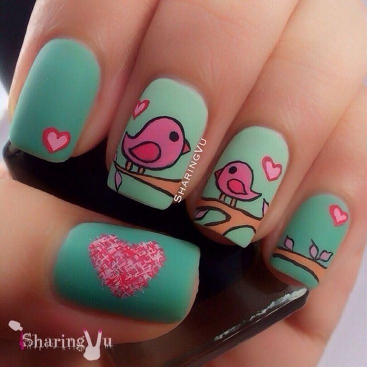 Love Birds Nail Art: Cute Love Bird Nail Art!