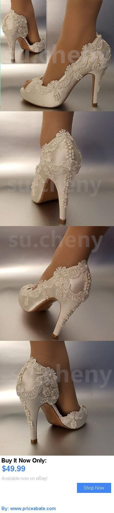 Wedding Shoes And Bridal Shoes: 34 Heel Satin White Ivory Lace Pearls Open Toe Wedding Shoes Bride Size 5-9.5 BUY IT NOW ONLY: $49.99 #priceabateWeddingShoesAndBridalShoes OR #priceabate