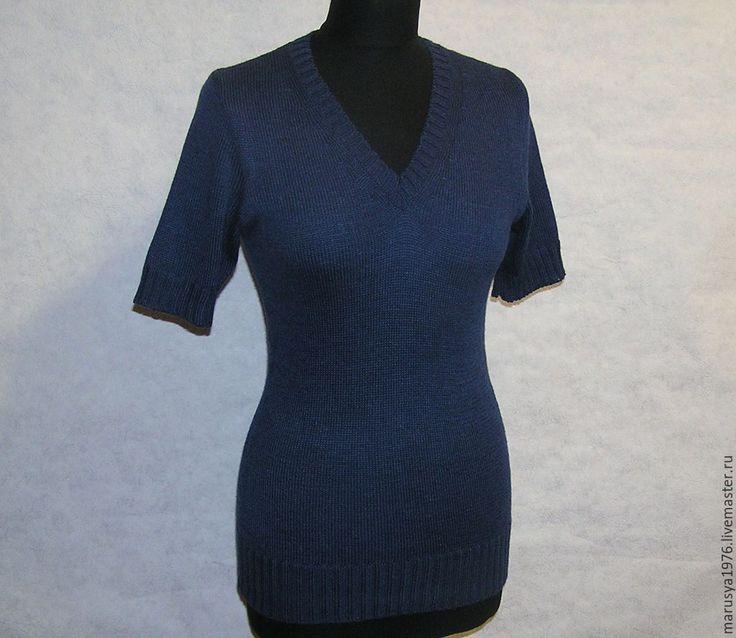 Купить Кофточка темно-синяя - темно-синий, кофточка, женская одежда, Машинное вязание