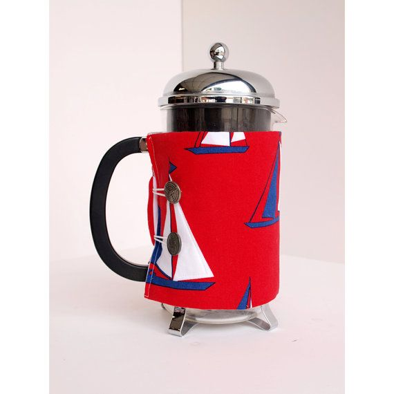 The Original French Press Coffee Cozy - Sailboat  Style -