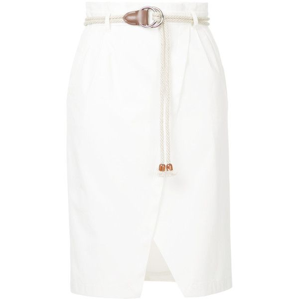 Loveless rope belt detail skirt (2,870 MXN) ❤ liked on Polyvore featuring skirts, white, high waisted skirts, high-waisted skirt, high-waist skirt, high rise skirt and white rope belt