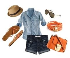 Summer Lovin'Orange, Fashion, Fun Recipe, Summer Looks, Summer Outfit, Summer Style, Denim Shirts, Summer Clothing, Pbmhuck Komont1