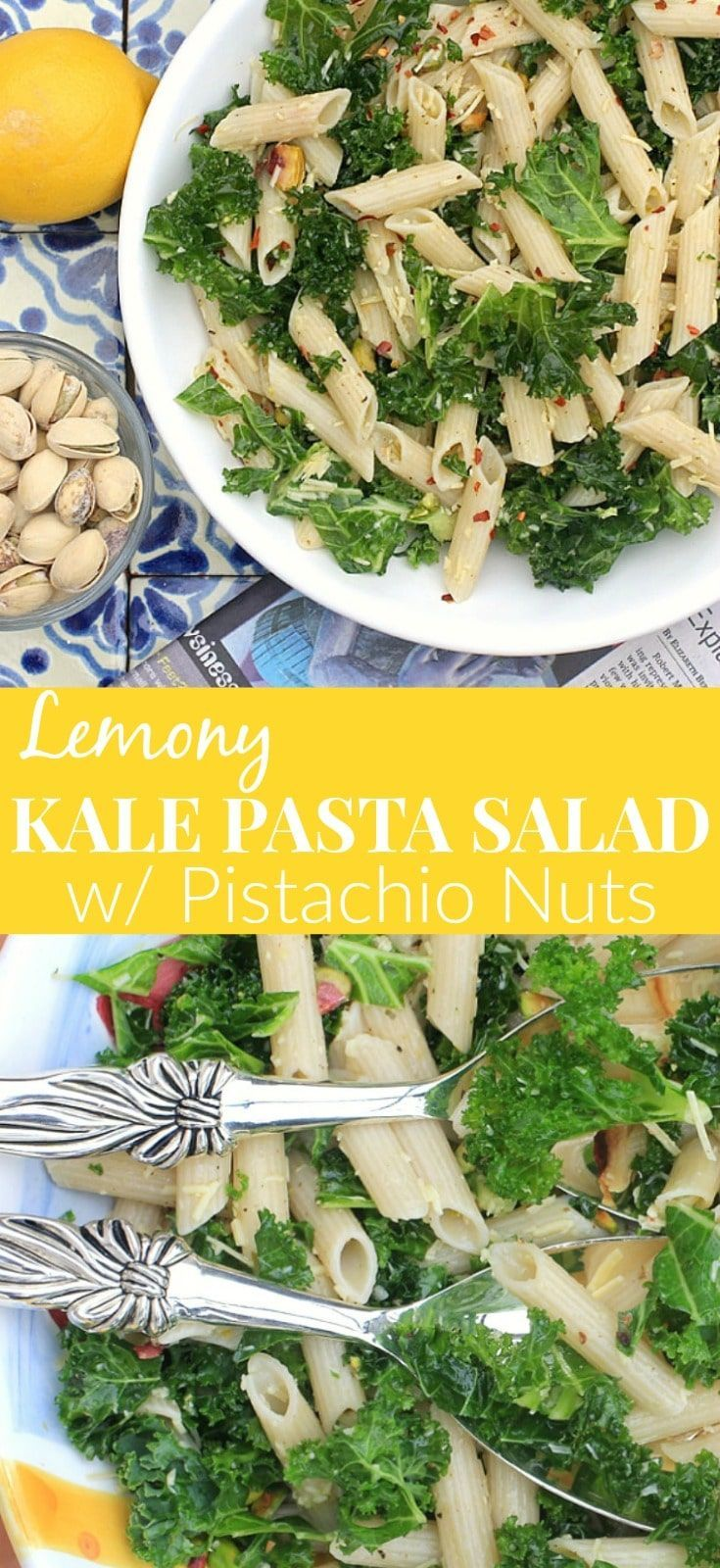 This Lemony Kale Pasta Salad with Pistachio Nuts is super simple to make, and packed with flavor. Make it with your pasta of choice ~ gluten free, grain free, or legume based for a nutritious boost of protein and fiber. So delicious! #glutenfree #vegetarian #meatlessmonday #pastasalad #kale via @thespicyrd