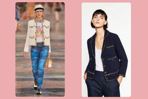 Chanel tweed jacket (picey!) vs. Zara tweed jacket (€69,95)