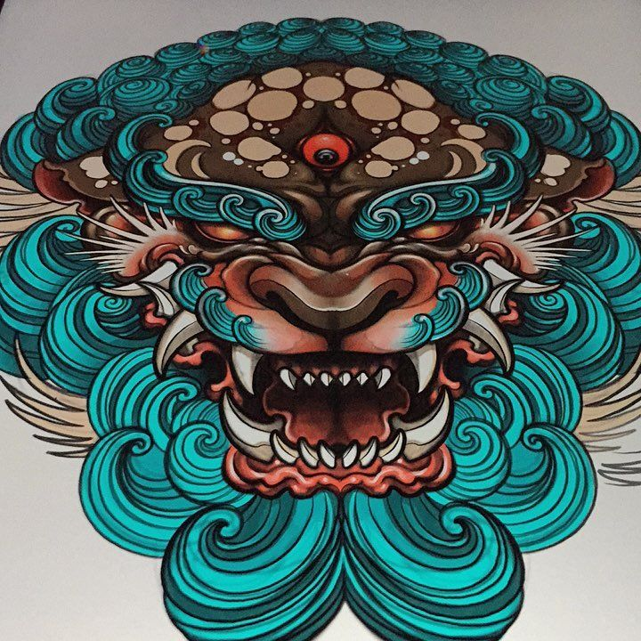 1 061 Likes 10 Comments Elvin Yong Elvintattoo On Instagram Playing Around With Colours For Tmr Wo Foo Dog Tattoo Design Japanese Tattoo Foo Dog Tattoo