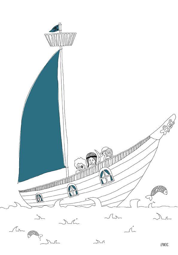 """""""Bateau Pirate"""" illustration enfant, bleu pétrole, affiche enfant, décoration enfant, LPMDC"""