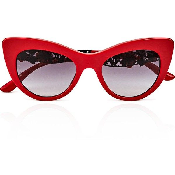 Dolce & Gabbana Embellished Cat Eye Sunglasses ($350) ❤ liked on Polyvore featuring accessories, eyewear, sunglasses, red, red lens glasses, cocktail glasses, red cat eye sunglasses, embellished sunglasses and red glasses