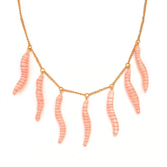 WORMS NECKLACE pink freaky jewelry hecho a mano by OhMyGodJewels
