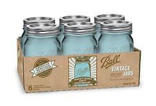 6 Pack 16 OZ Pint Mason Jars w/ Lids Canning Ball Heritage Collection Blue Green