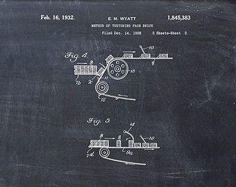 Patente la impresión de método de texturizado ladrillo cara vista - lámina - patente Poster - edificio de la patente