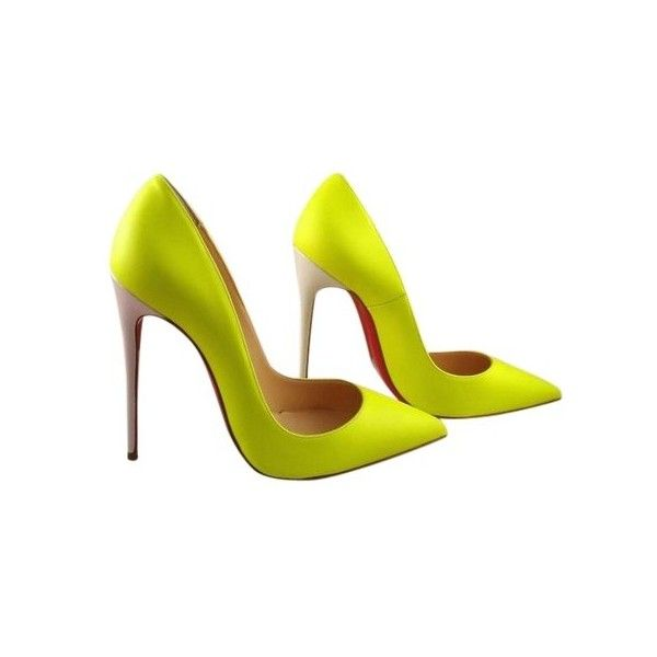 Christian Louboutin So Kate 120 Fluo Neon Jaune Matte Leather 36... ($50) ❤ liked on Polyvore featuring shoes, pumps, leather shoes, neon yellow shoes, neon yellow pumps, yellow shoes and neon pumps