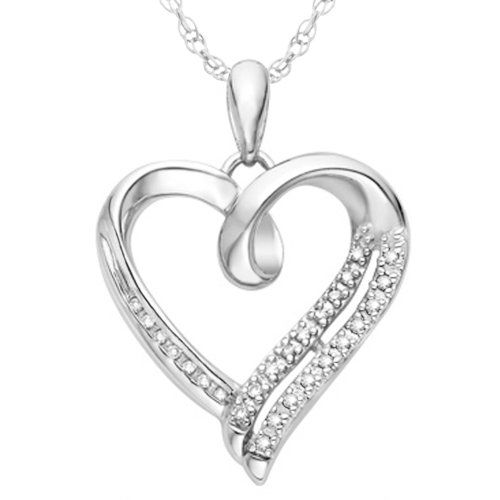 Beautiful necklace for the price! Sterling Silver White Round Diamond Heart Pendant
