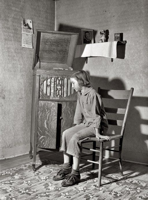 "U.S. Listening To Radio, May 1940. Crawford County, Illinois. ""Daughter of Farm…"
