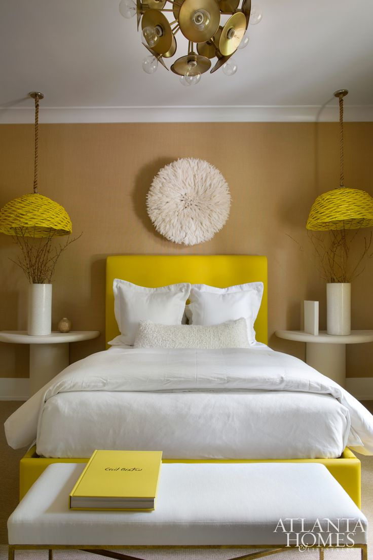 Master bedroom holly springs ga shabby chic style bedroom - House Tour Brookwood Hills Design Chic Love A Yellow And White Bedroom And Great Pendants