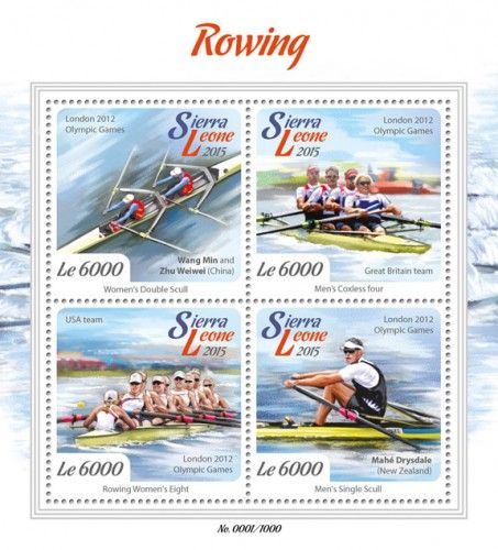 SRL15709a Rowing (London 2015 Olympic Games: Wang Min and Zhu Weiwei, China (women's double scull), Great Britain team (men's coxless four), Mahe Drysdale, New Zealand (men's single scull), USA team (rowing women's eight))