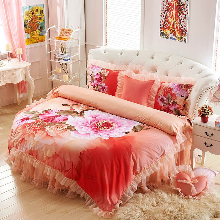 Find More Information about Purple flower round bed piece set 100% cotton wedding round bedding orange lace bedskirt 4pcs set large flower round duvet cover,High Quality covered pet bed,China bed cot Suppliers, Cheap cover bathroom from Queen King Bedding Set on Aliexpress.com