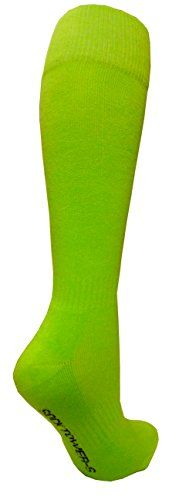 Socktower Womens Sports Baseball Softball Plain Knee High Socks SHOE Size 613 Bright Lime Green * See this great product.