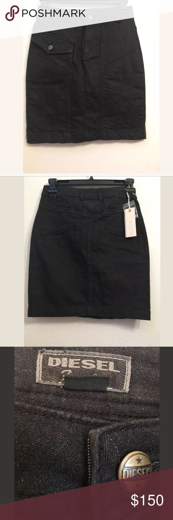 NWT $150 DIESEL Cotton Black Mini Skirt Size 23 NWT $150 DIESEL C18 Cotton Blend Black Mini Skirt Size 23  Your satisfaction is our #1 priority.  This is why we ship twice daily Monday thru Saturday to get the item to you as quickly as possible!! :).  If for any reason you are not 100% satisfied please message us and we will work with you to make it right!!      -Retail Price: $150 + TAX -Material: 98% Cotton, 2% Spandex Diesel Skirts Mini