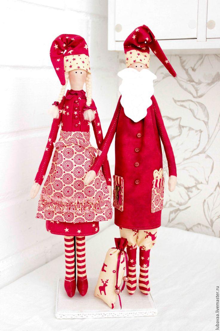 Christmas Tilda Dolls | Купить Новогодняя парочка. Куклы Тильды. - ярко-красный, Дед Мороз и Снегурочка