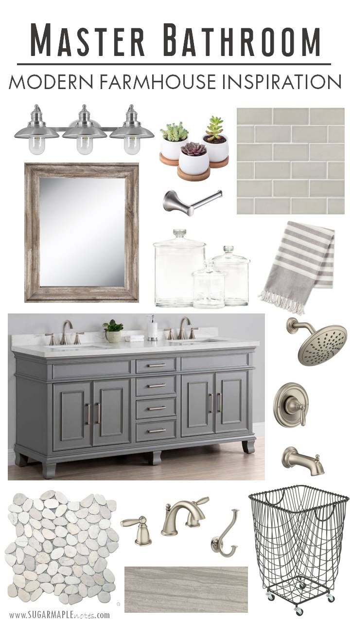 Modern Farmhouse Master Bathroom Inspiration | Sugar Maple Notes