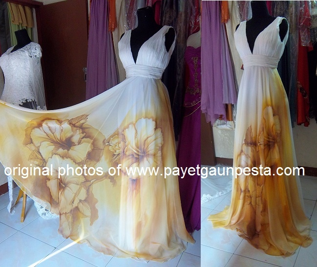 Flower Hand-painted silk chiffon wedding dress