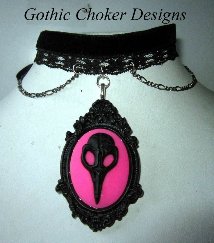 R160 approx $16 Purchase here: https://hellopretty.co.za/gothic-choker-designs/black-and-pink-crow-skull-choker