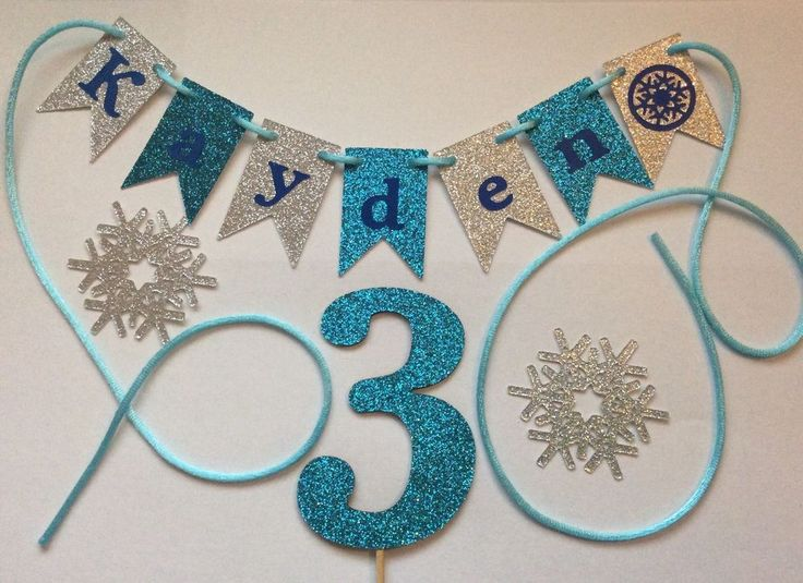 Personalised Cake Bunting AND Number -Flags, Garland, Glitter for FROZEN PARTY