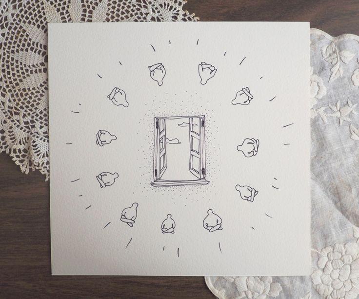 Sofeel print :: Open your window #print #illustration #art #pendrawing #meditation #clearyourmind #wallart