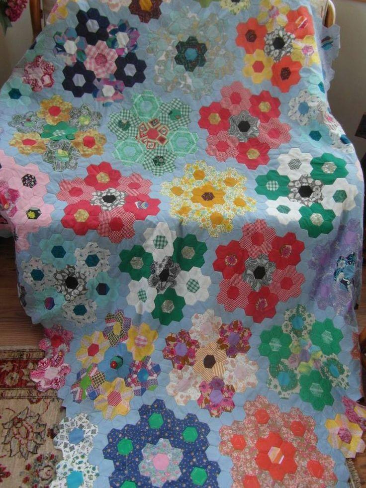 Vintage Retro Unused Hexagon Patch Quilt Top -- interesting setting!