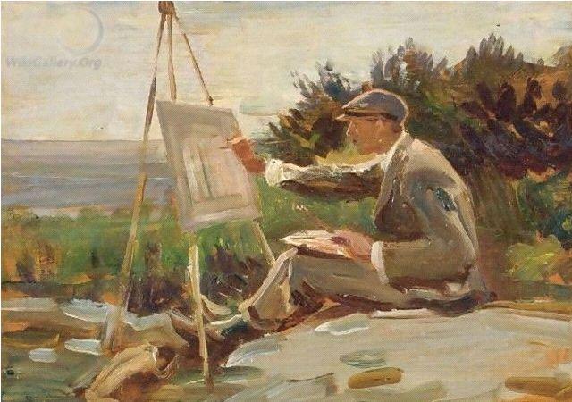 An Artist Painting Near Lamorna, Cornwall oil on canvas Alfred James Munnings (1878 – 1959)