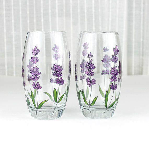 Hand Painted Glasses, Lavender Glasses, Floral Tumblers, Water Glasses, Everyday Glasses, Set of 2, Lavender Design, Drinking Glasses