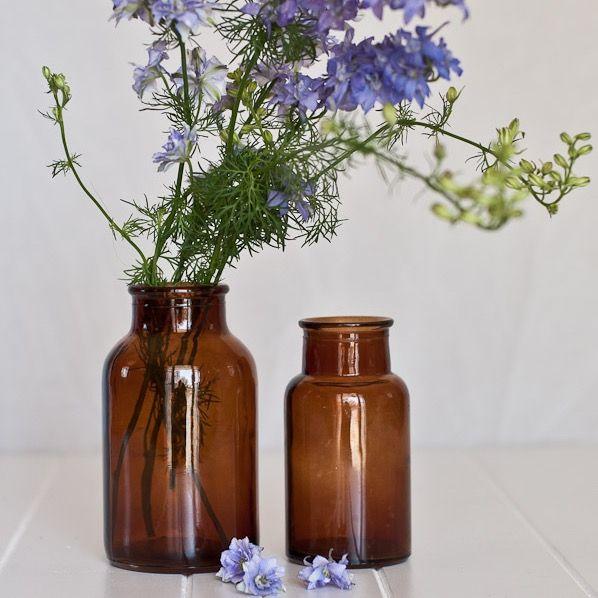 Brown Apothecary Vase Amber vase for floral arrangements old world medical styling
