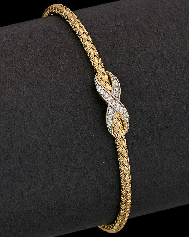 Meshmerise 18k Over Silver 0 20 Ct Tw Diamond Bracelet Gold Leaf Jewelry Jewelry Bracelets Gold Bangles Jewelry Designs