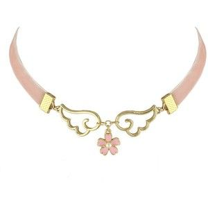 Faux Pearl Flower Wings Velvet Choker Necklace