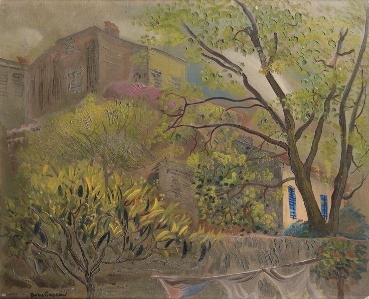 BORIS DMITRIEVICH GRIGORIEV( 1886-1939) -  HOUSE WITH A PINK ROOF, oil on canvas, 49x60cm.