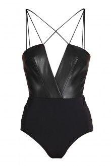 SANE Black Leather Bodysuit