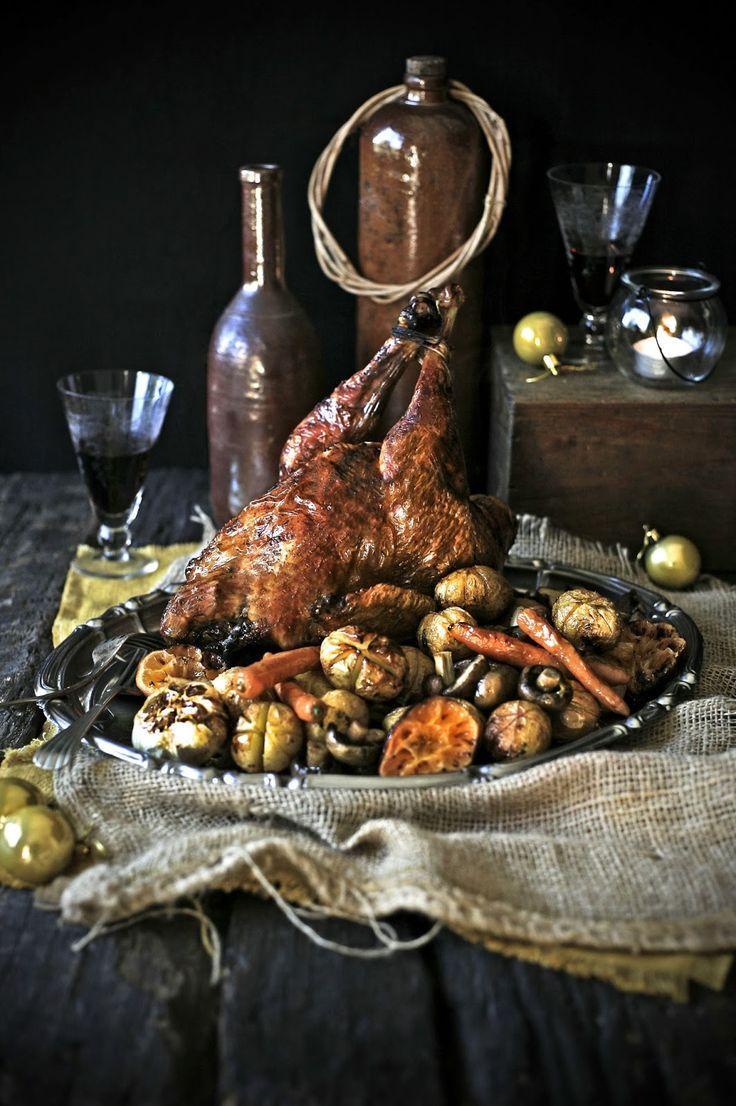 Frango caseiro assado com marinada de citrinos e canela # Roasted chicken with citrus and cinnamon marinadead