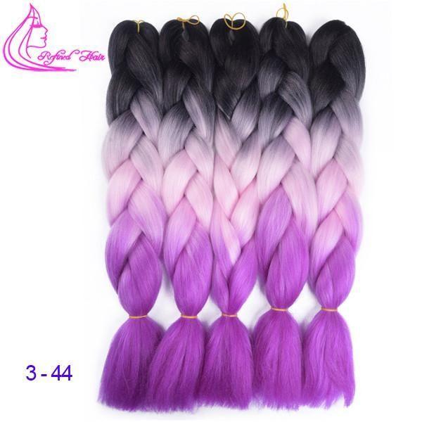 Jumbo Braids Crochet Hair Extensions Synthetic Crochet Braiding Variant Colors