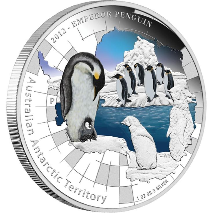 Australian Antarctic Territory Series - Emperor Penguin 2012 1oz Silver Proof Coin - Perth Mint Australia
