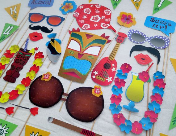 Bring the fun to your party with these 26 Hawaiian Luau themed photo booth props! Just print, cut and add sticks.    When you purchase this
